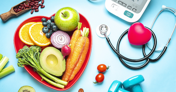 Stethoscope and heart-healthy foods